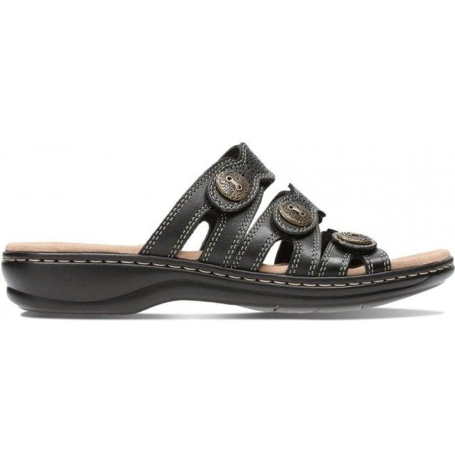 dc159669c23 Clarks Clarks Womens Leisa Grace Black Leather Mule Sandals 26134117