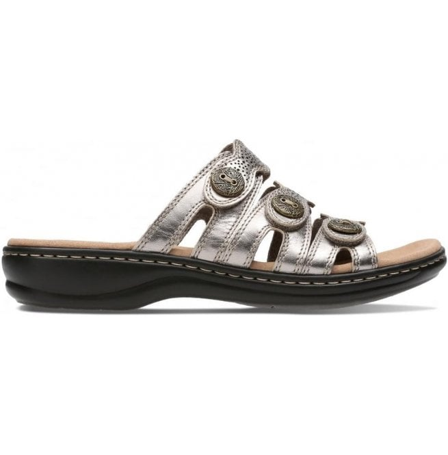 9d42f525bfb Clarks Womens Leisa Grace Pewter Metallic Leather Mule Sandals ...