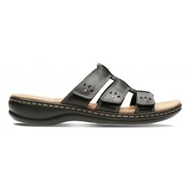 1aa8b4ea759d Womens Leisa Spring Black Leather Velcro Mule Sandals 26134491