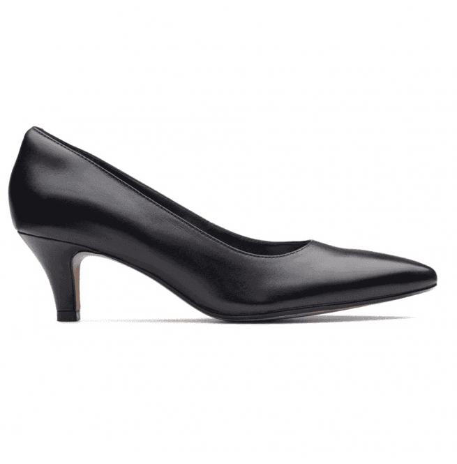 da64952e2 Clarks Clarks Womens Linvale Jerica Black Leather Court Shoes 2613708