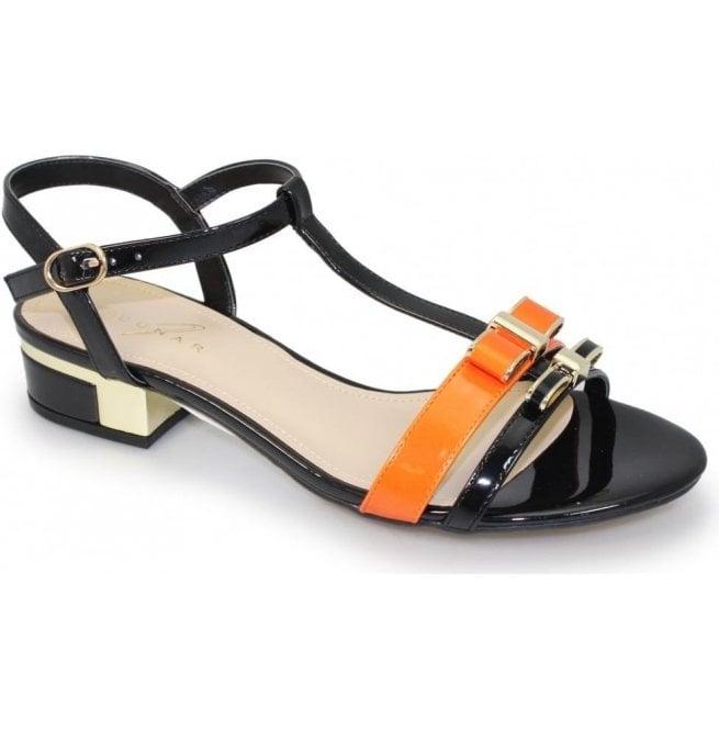 Lunar Louvre Black T-Bar Sandals JLE073
