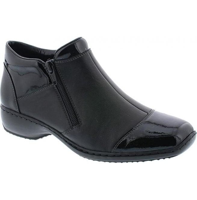 00d49ab95a97c Rieker Womens Luxor Black Patent/Leather Combi Zip Ankle Boots ...