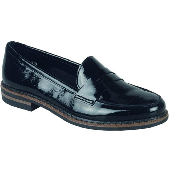 Womens Luxor Black Patent Leather Loafers 50662 02
