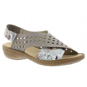 70ea4ddcab26 Womens Madeira Off White Floral Metallic Grey Sandals 60826-90