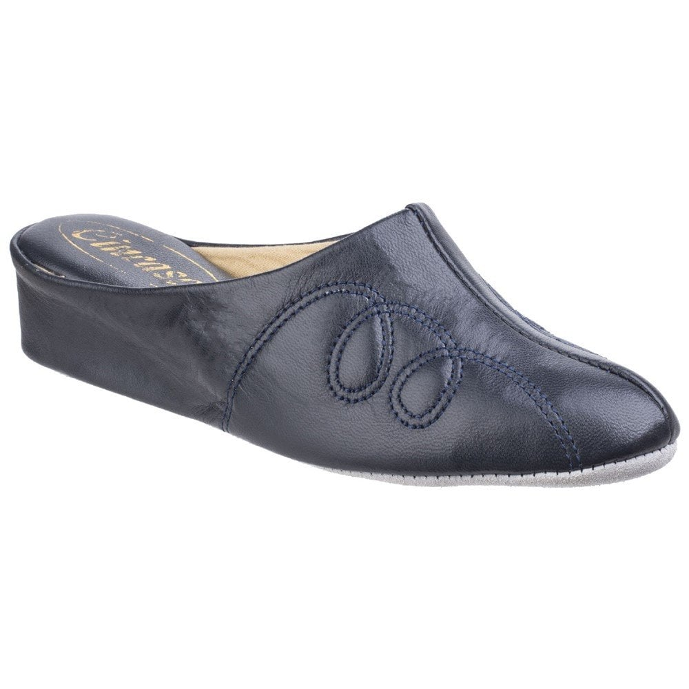 womens leather mule slippers uk