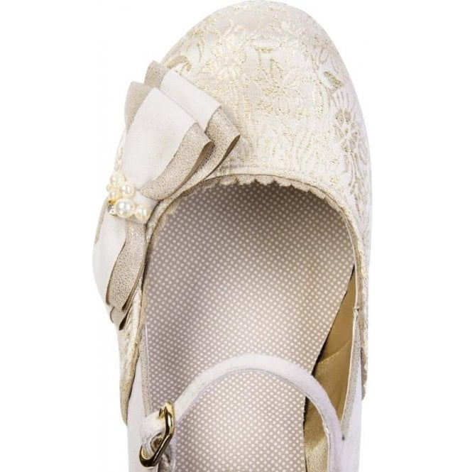 7735fc58d1a61 ... Womens Maria Cream/Gold Court Shoes 09155. Tap image to zoom. Ruby Shoo  cream shoe. Cream wedding shoe with bow detail