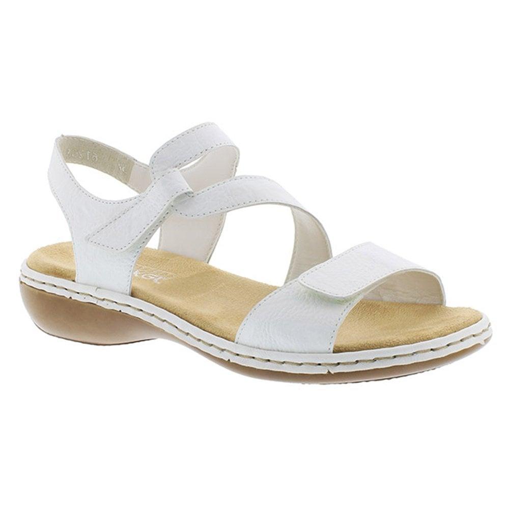 Rieker Womens Massa White Leather Velcro Sandals 659C7 80