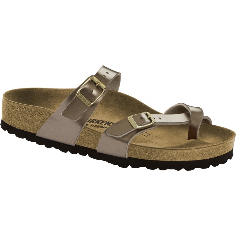 28b585b03 Birkenstock Birkenstock Womens Mayari Electric Metallic Taupe Double Strap  Toe Loop Sandals 1012977