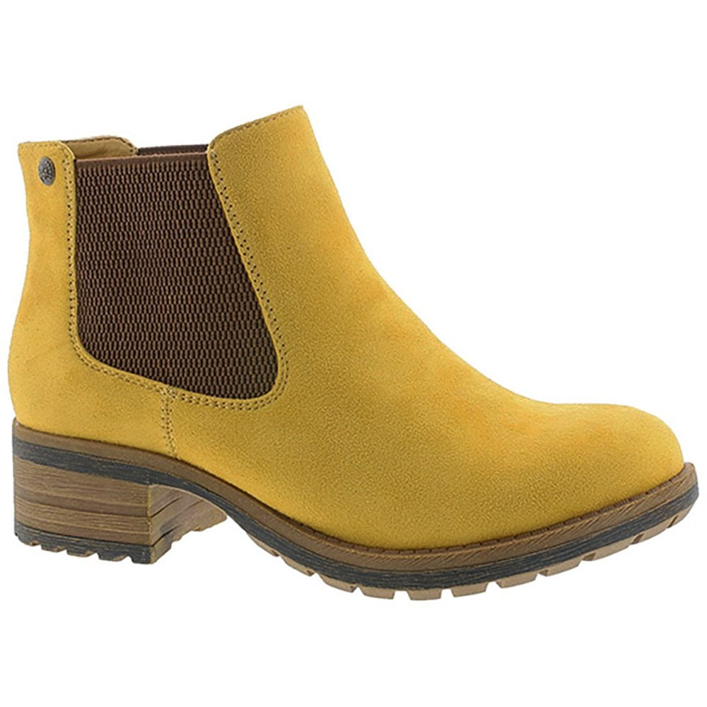 Rieker Womens Microscamo Yellow Microfibre Ankle Boots 96884 68