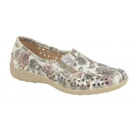 7d8ecb0b87a Womens Multi Floral Slip-On Elasticated Cut Out Shoes L130FM