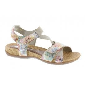 36e2aa0b Womens Multiflower Multicolour Elasticated Velcro Sandals R3257-91 · Remonte  ...