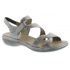 5ee784771b747 Womens Mussarana Grey/Metallic Velcro Strap Over Sandals 65969-90 · Rieker  ...