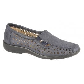 31b84134df1 Womens Navy Blue Waxy Slip-On Elasticated Cut Out Shoes L130C