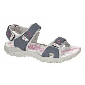 4ee2c903791 Womens Navy Grey Triple Velcro Strap Sports Sandals L498C New In · PDQ ...