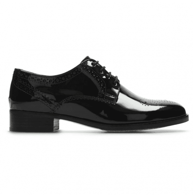 a379ff5143b Clarks Clarks Womens Netley Rose Black Patent Leather Lace Up Shoes