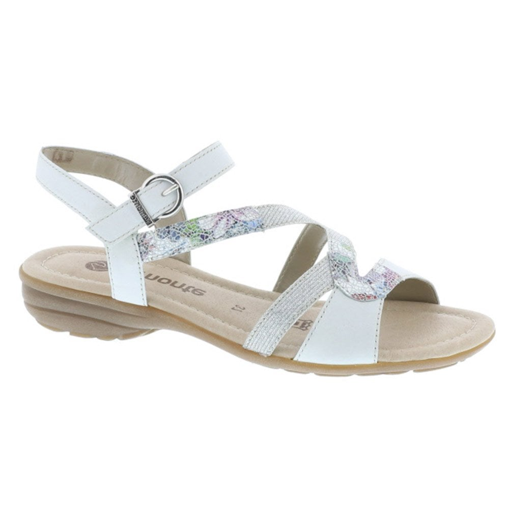 18e936ade09 Remonte Womens Newark White Multi Slingback Multi Sandals R3651-80