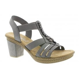 155ad8dd9a61e Womens Niagara Grey Block Heeled Sandals 66506-42 · Rieker ...