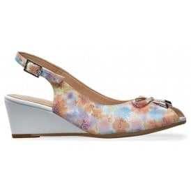 9f18a34de5 Womens Oxley Meadow Print White Sling Back Wedge Sandals 2668040 New In. Van  Dal ...