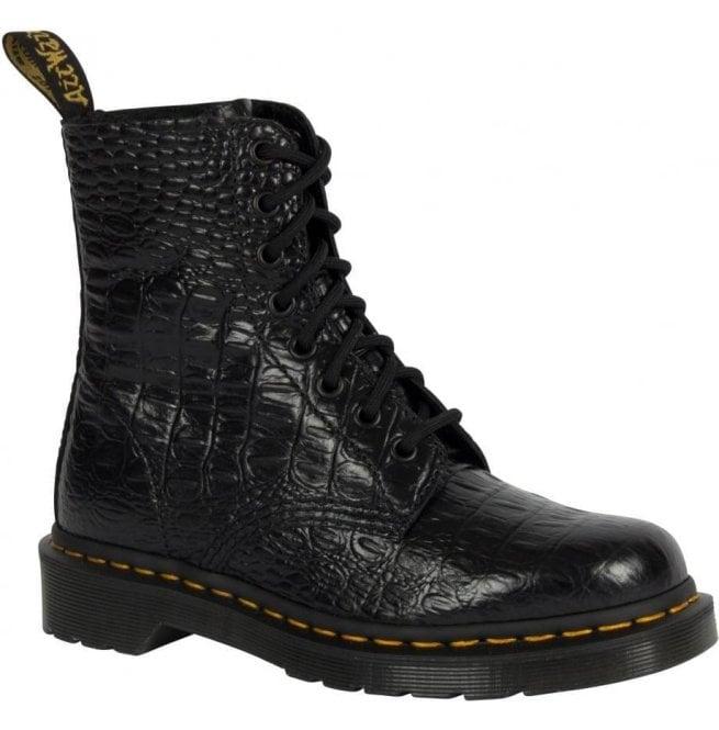 22b7ab26256e73 Dr Martens Womens Pascal Croc Black Lace Up Boots 22966001