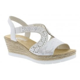 cc002aad5e0aa Womens Pavone White/Silver Wedge Heeled Sandals 61916-80. Rieker ...