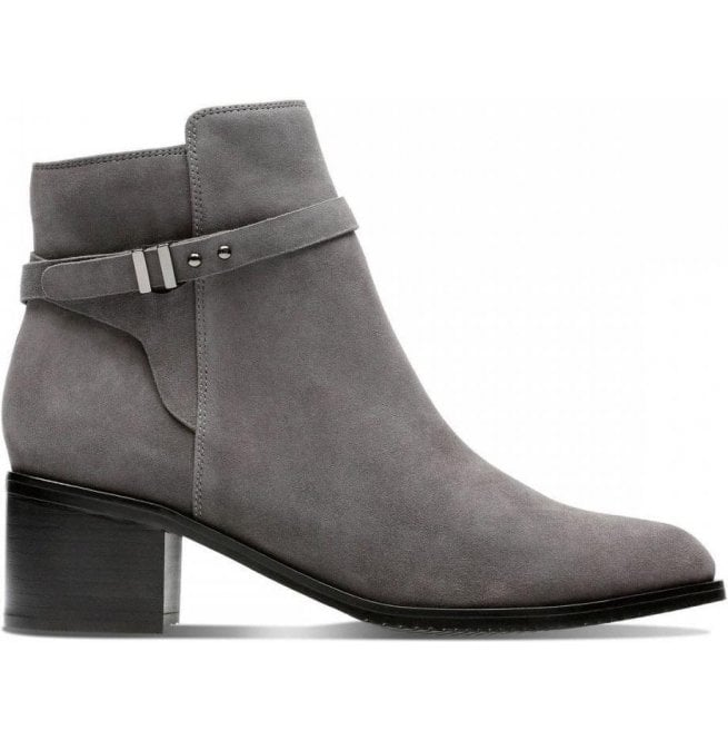 c0bc8640e Clarks Clarks Womens Poise Freya Dark Grey Suede Ankle Boots 26137934