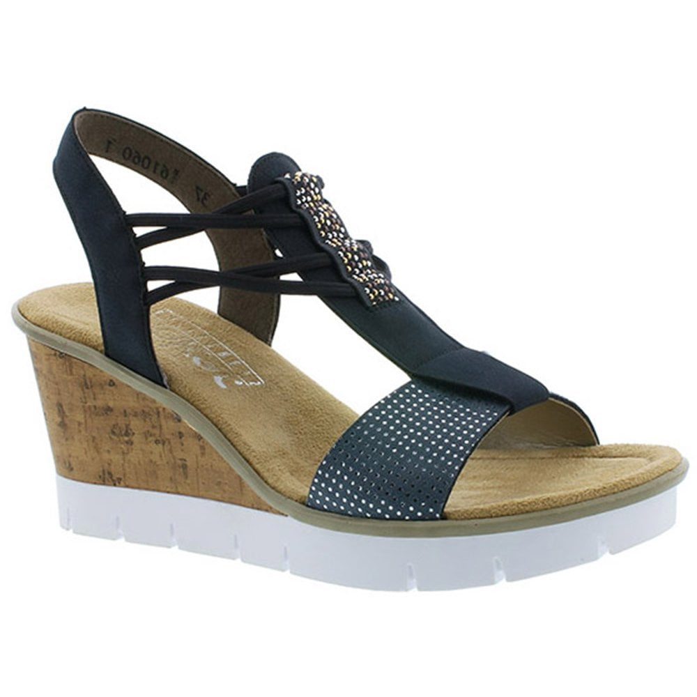 145db3fb3c2e Rieker Rieker Womens Puntito Blue Slip-On Elasticated Sandals V5582-12