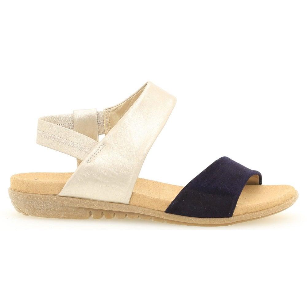 3e992d68e51 Gabor Womens Racy Blue Powder Suede Leather Slingblack Sandals 601.16