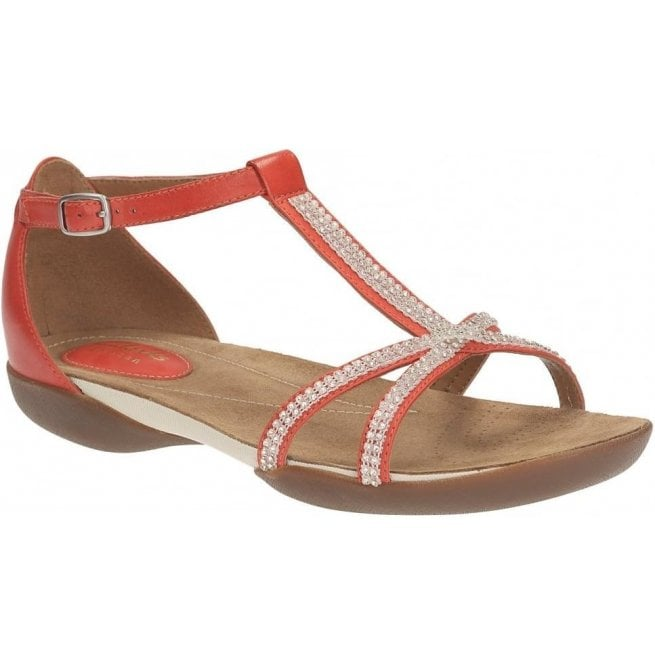 1c85bfc9e Clarks Ladies Raffi Star Red Leather Sandals at Marshall Shoes
