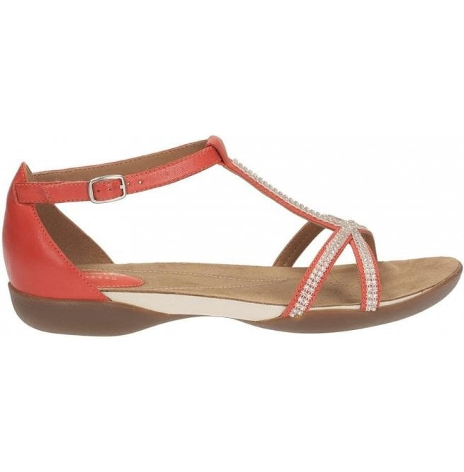 a6c981b7e596 Clarks Ladies Raffi Star Red Leather Sandals at Marshall Shoes