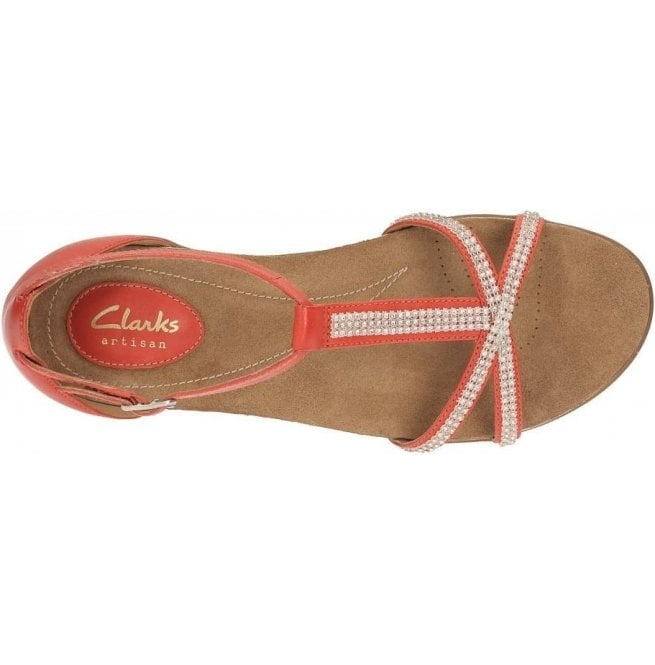 c32fd390e66c8 Clarks Ladies Raffi Star Red Leather Sandals at Marshall Shoes