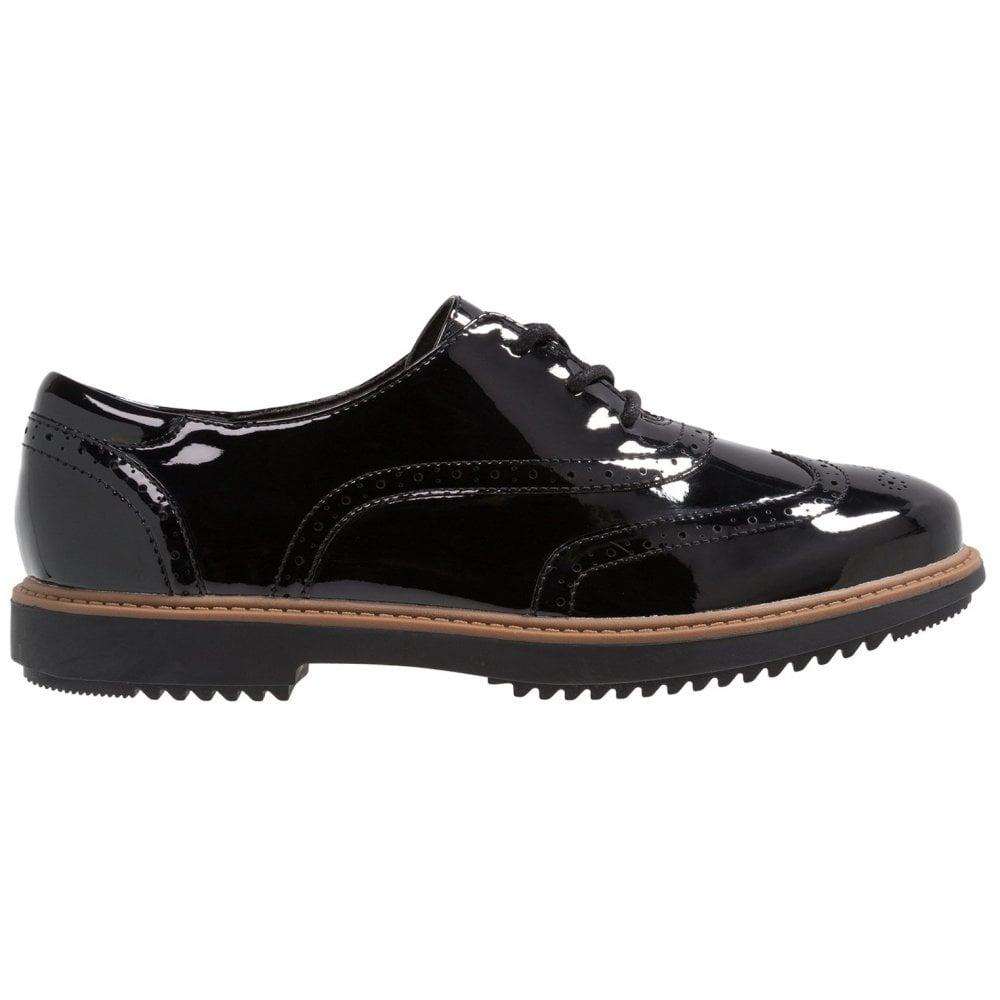 Mirar furtivamente sed clásico  Clarks Womens Raisie Hilde Black Patent Casual Shoes 26136343