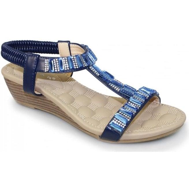 Lunar Reynolds Black JLH877 Womens Gem and Rhinestone Wedge Sandals