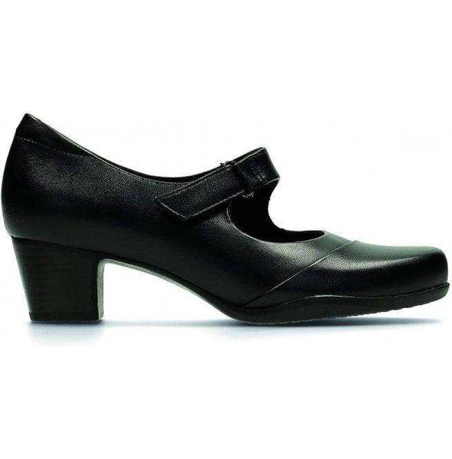 9f23354cc991 Clarks Womens Rosalyn Wren Black Leather Mary Jane Shoes
