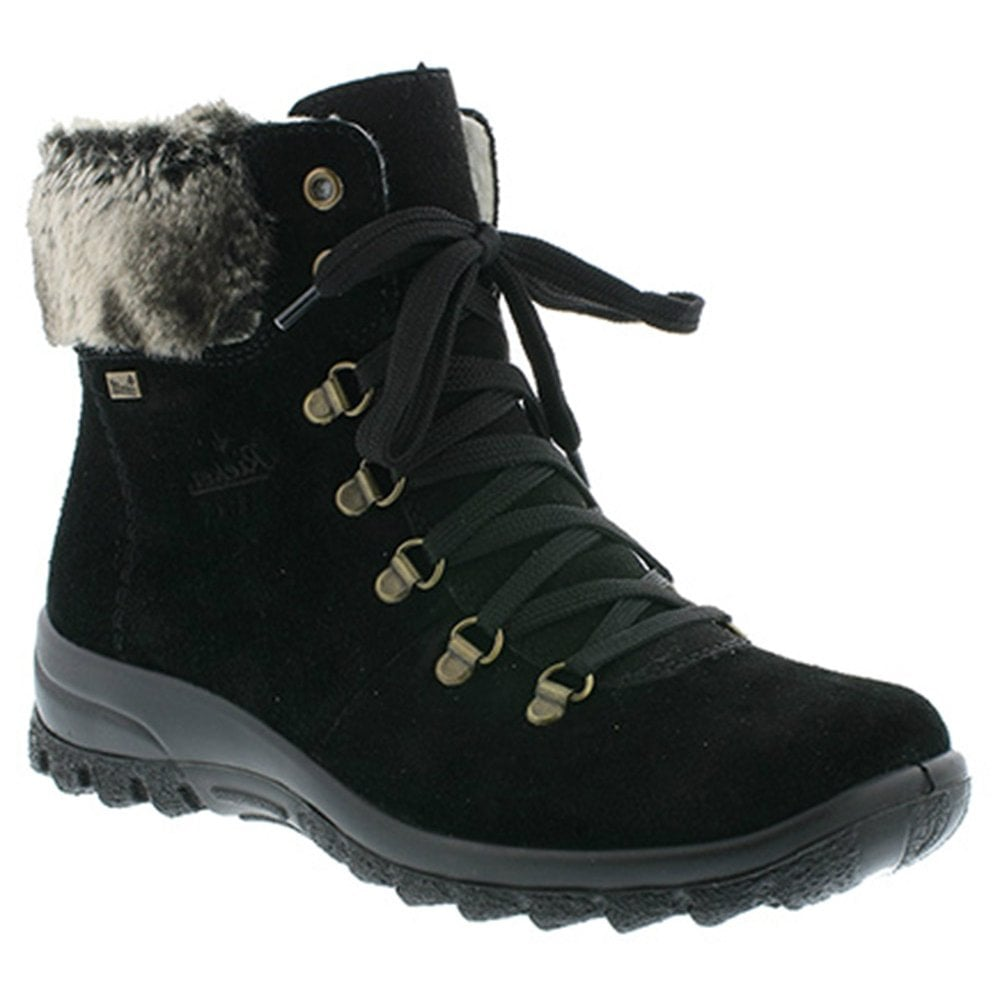 dcae6143b Rieker Womens Samtcalf Black D-Ring Waterproof Ankle Boots Z7130 ...