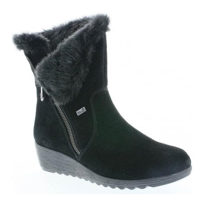 52cf93a7b9b Rieker Rieker Womens Samti Black Zip-Up Waterproof Suede Ankle Boots X2470- 00