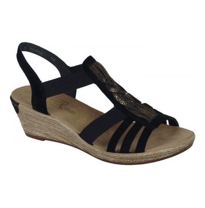 Womens Toulon Black Combi Elasticated Sandals 679L1 90