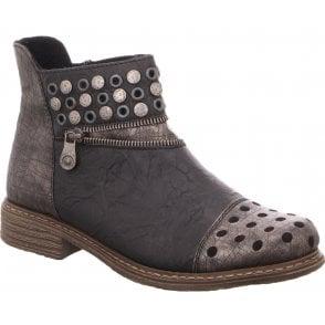 3485f98b7aae3 Rieker Womens Luxor Burgundy Combi Zip Ankle Boots L3879-35