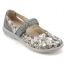 2858e1cc1da Womens Shake Extra Wide Grey Floral Canvas Nubuck Strap Over Shoes New In ·  Hotter ...