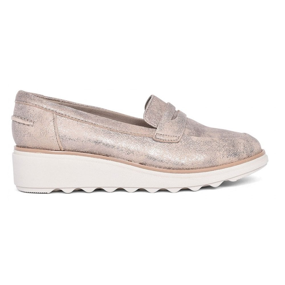75634999f0119 Clarks Clarks Womens Sharon Ranch Pewter Suede Wedge Heeled Slip On Loafer  Shoes 26140650