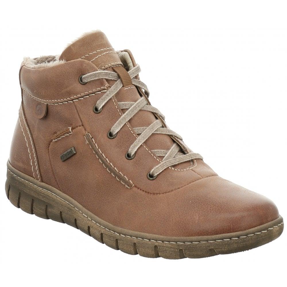 Josef Seibel Womens Steffi 53 Castagne Leather Lace Up Waterproof Ankle Boots 93153 VL812 350
