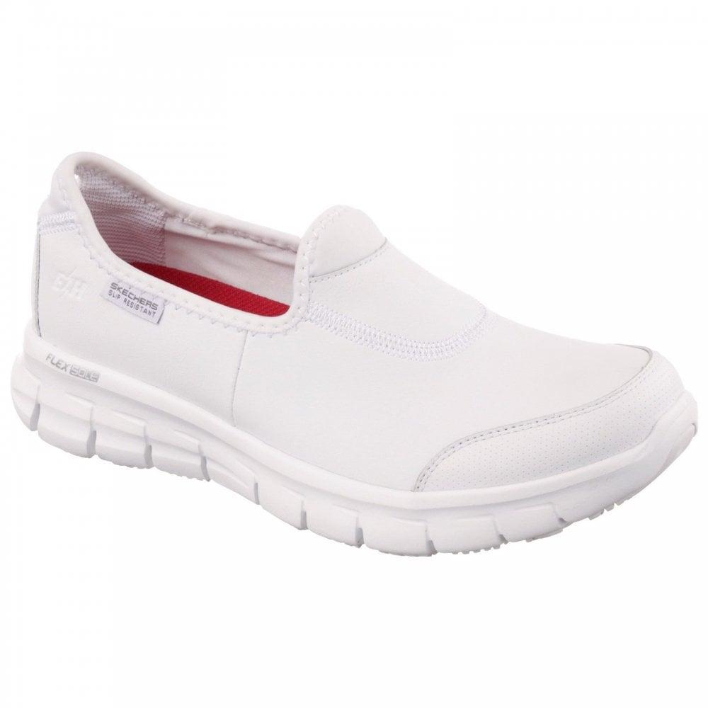 Skechers Sure Track White Leather Slip