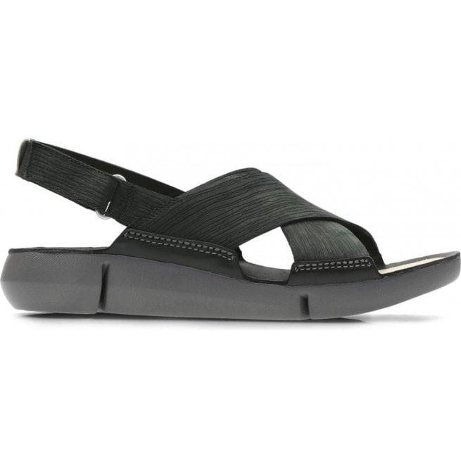 495f34a221f Clarks Clarks Womens Tri Chloe Black Nubuck Velcro Sandals 26131276