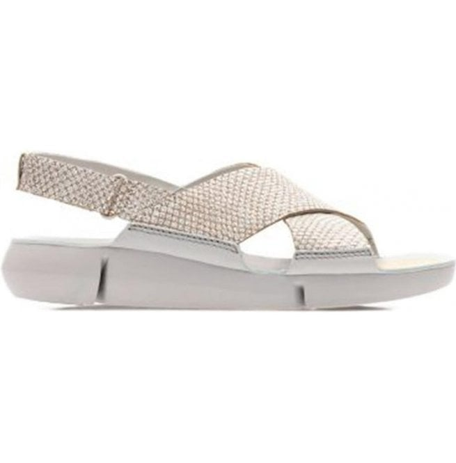 8ffde305d2a1 Clarks Clarks Womens Tri Chloe Metallic Silver Leather Velcro Sandals  26131294