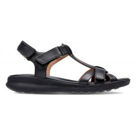 2604994cfd1f Womens Un Adorn Vibe Black Leather Sandals 26141720