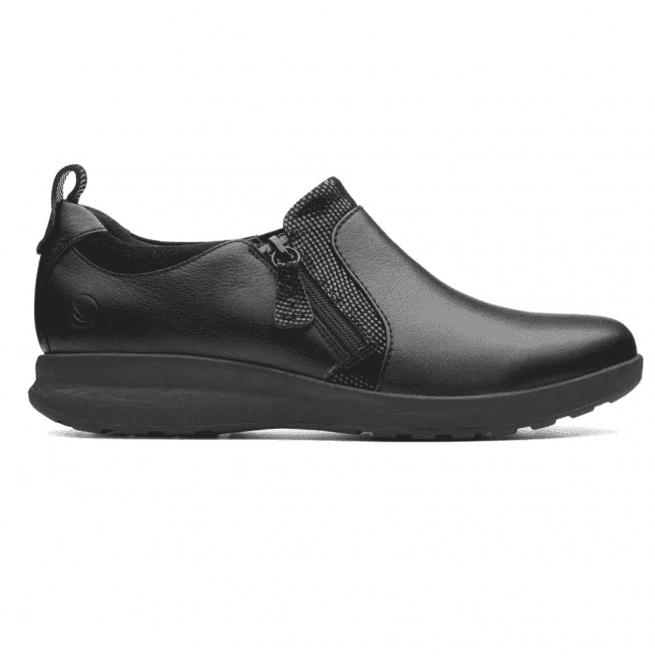 Un Zip 26137017 Slip Combi Shoes Leather Womens On Adorn Black WQoCrdexB
