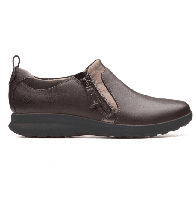 mal humor Español acceso  Clarks Un Adorn Zip Dark Brown Combi Leather Slip On Shoes 26137021 |  Official Stockist | Marshall Shoes Est 1895