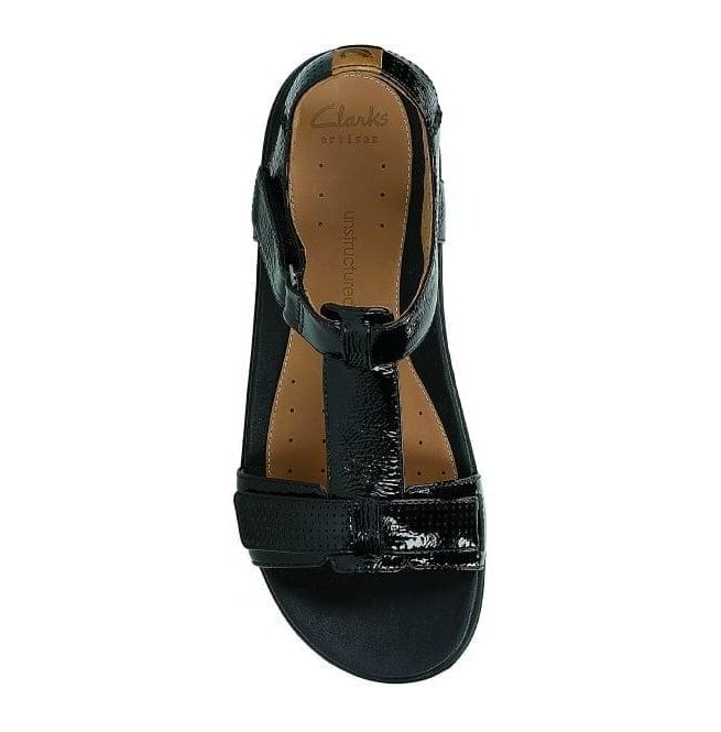 009eaabe696 Clarks Womens Un Haywood Black Patent Leather T-Bar Sandals