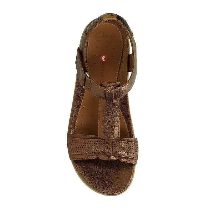 26aa7f1e642 Clarks Womens Un Haywood Bronze Metallic Leather T-Bar Sandals