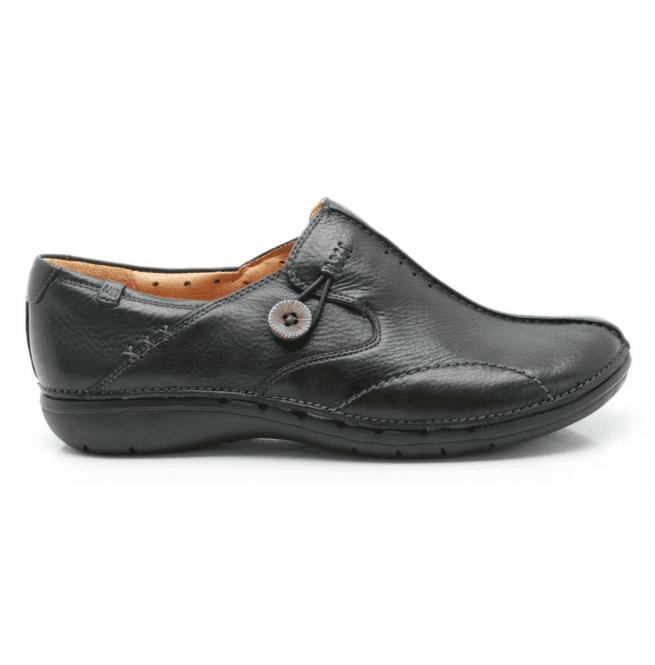Clarks Un Loop Black Leather Casual