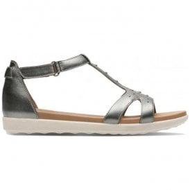 29268d18e2a Womens Un Reisel Mara Pewter Metallic Leather T-Bar Sandals 26133243 ·  Clarks ...